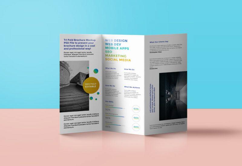 Tri-fold Brochure Mockup Template PSD