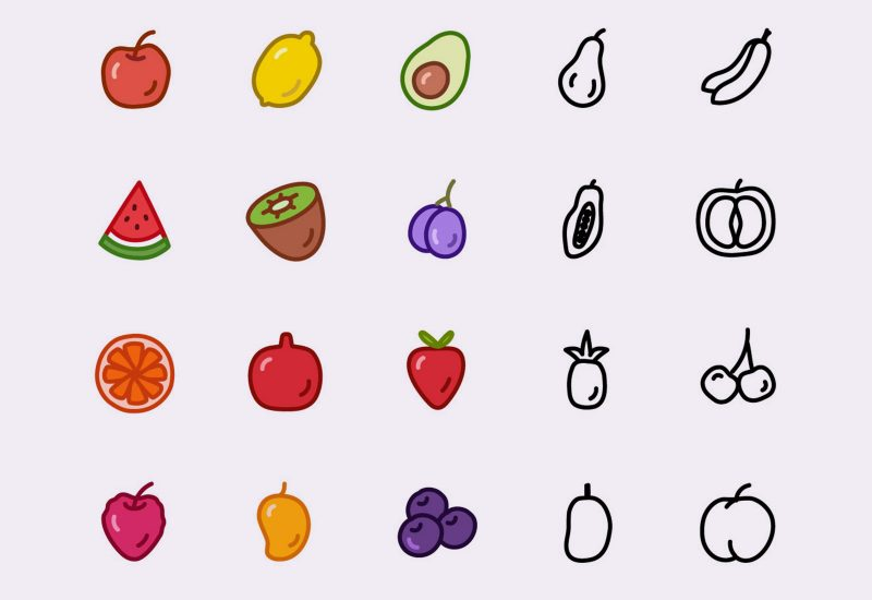 Vector Fruit Icons Pack