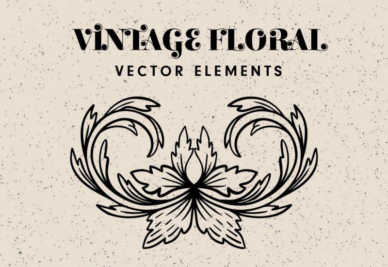 Vintage Floral Decorative Elements