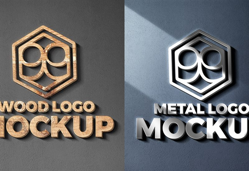 Wood & Metal Cut Logo Mockup PSD