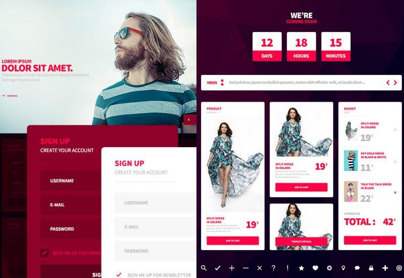 Free Web and Mobile UI Kit PSD