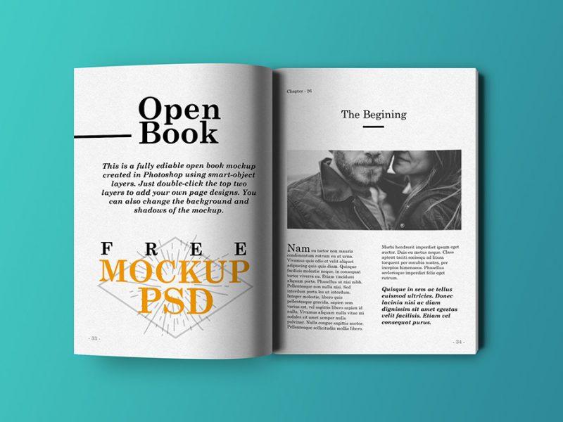 Open Book Mockup PSD