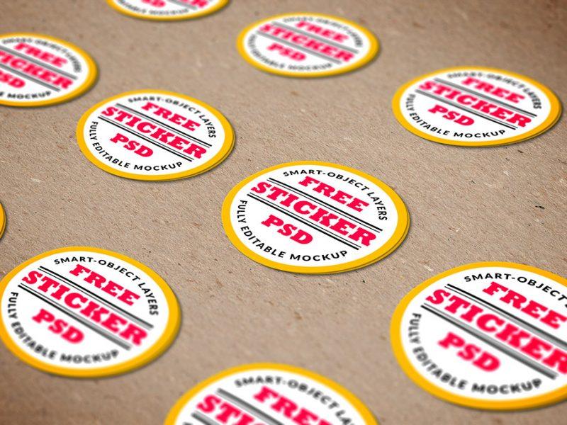Free Stickers Mockup PSD