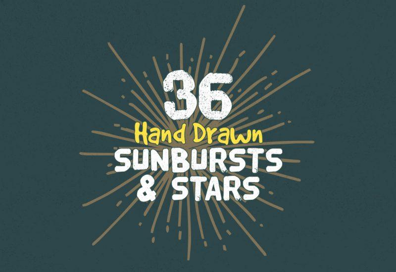 Hand Drawn Sunbursts & Stars Vectors