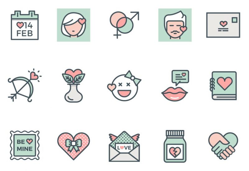 Valentine Flat Line Vector Icons